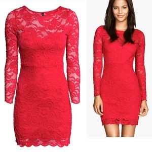 NWOT H&M long sleeves lace fitted dress